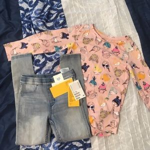 H&M denim jeggiggs 4-5 and baby gap shirt size 4